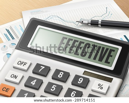 calculator with the word effective on the display