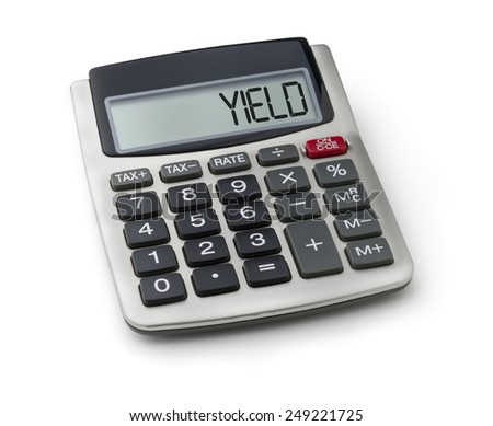 Calculator with the word yield on the display - stock photo