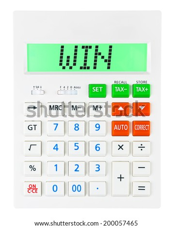 Calculator with WIN on display on white background - stock photo