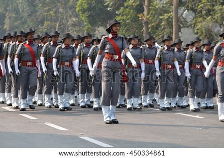 Calcutta, India - January 24, 2016: Indian army practice their parade during republic day. The ceremony is done by Indian army every year to salute national flag in 26th January.