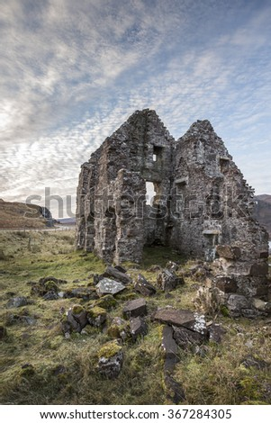 Calda house ruins at Loch Assynt. - stock photo
