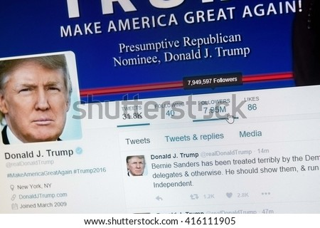 CALDWELL, IDAHO/USA - MAY 5, 2016: Main page of the Donald J Trump twitter page in his race to become US president - stock photo