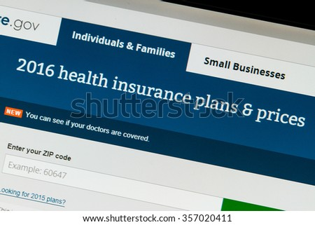CALDWELL, IDAHO/USA - NOVEMBER 17,2015: 2016 Healthcare plans are available at healthcare.gov as seen while browsing healthcare.gov in Caldwell, Idaho - stock photo