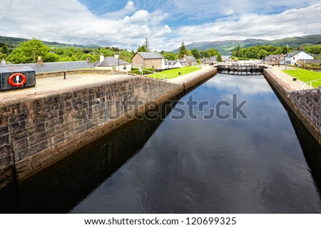 Caledonian Canal at Fort Augustus , Scotland - stock photo