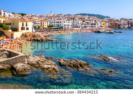 Calella de Palafrugell, traditional whitewashed fisherman village and a popular travel and holiday destination on Costa Brava, Catalonia, Spain - stock photo
