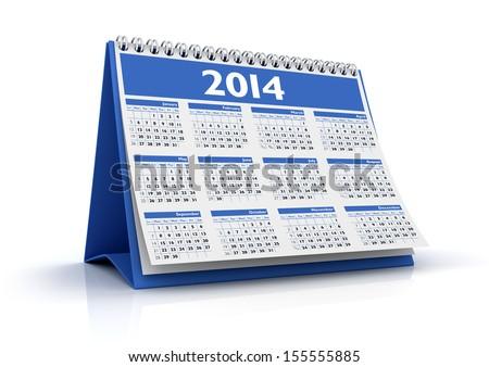 Calendar 2014 - stock photo