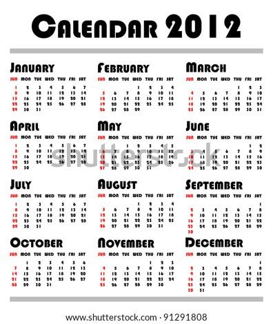calendar 2012 - stock photo