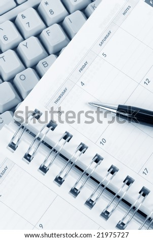calendar and computer keyboard close up