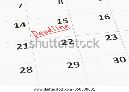 Calendar and deadline written