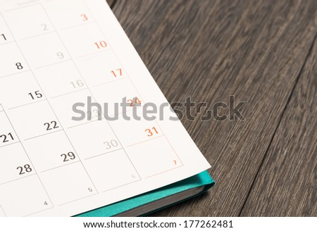 calendar and file on board. - stock photo