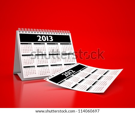 calendar 2013 and 2012 in red background