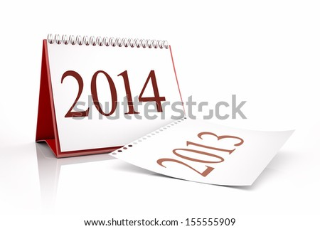 calendar 2013 and 2014 in white background - stock photo