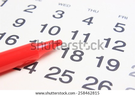 Calendar and pen - stock photo