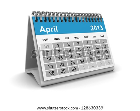 Calendar 2013 - April - stock photo