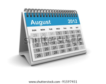 Calendar 2012 - August - stock photo