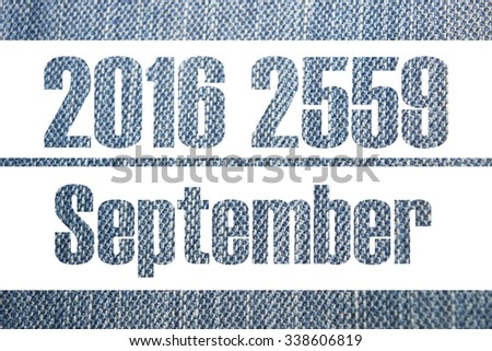 Calendar background jeans 2016 2559, 12 Month and Happy New Year