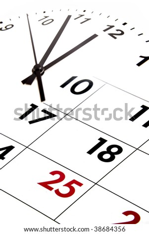 Calendar blending into clock face. - stock photo