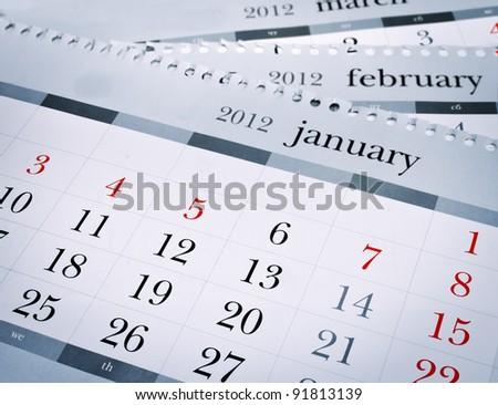 Calendar 2012. Blue toned. - stock photo