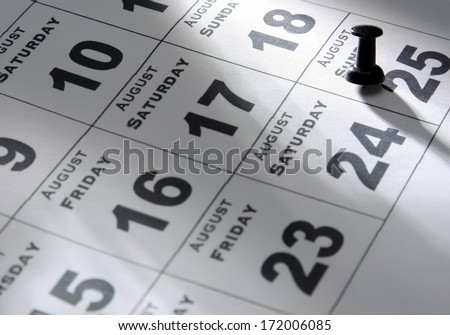 Calendar cards with week days and months, from above - stock photo