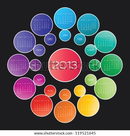 calendar 2013. circle calendar design template (Vector version available) - stock photo