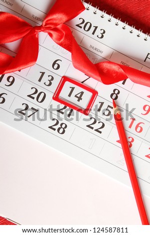Calendar, day marked by February 14. background