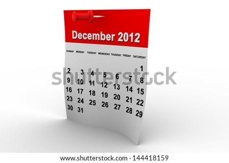Calendar 2012 - December - stock photo