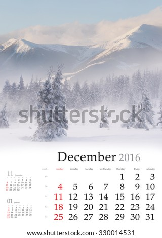 Calendar 2016. December. Colorful winter landscape in the mountains.