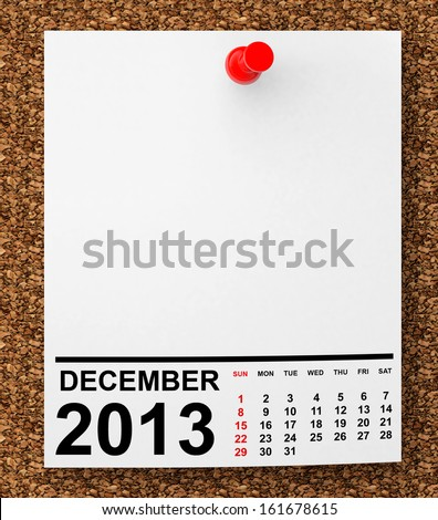 Calendar December 2013 on blank note paper with free space for your text - stock photo