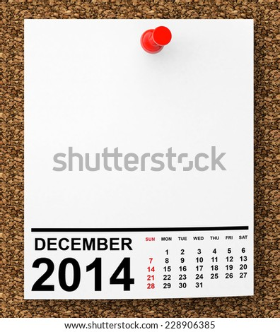 Calendar December 2014 on blank note paper with free space for your text - stock photo