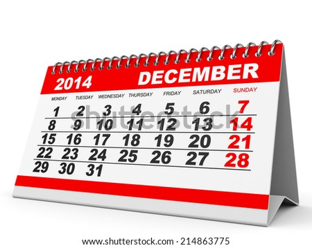 Calendar December 2014 on white background. 3D illustration. - stock photo