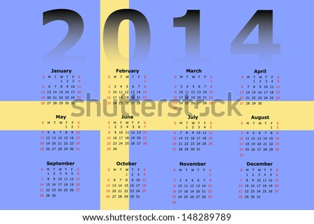 Calendar Design for 2014 with the flag of Sweden in the background