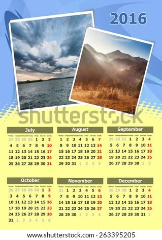 Calendar design nature for year 2016 - stock photo