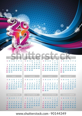 Calendar design 2012 on blue background. (JPG)