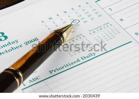 Calendar entry pointed out by a pen