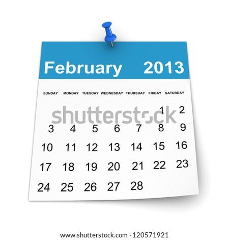 Calendar 2013 - February - stock photo