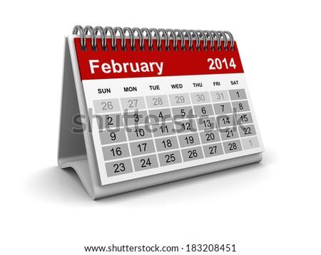 Calendar 2014 - February - stock photo