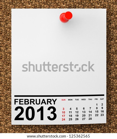 Calendar February 2013 on blank note paper with free space for your text - stock photo