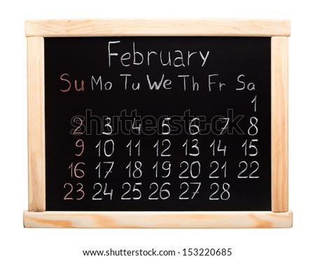 Calendar 2014. February. Written on a blackboard