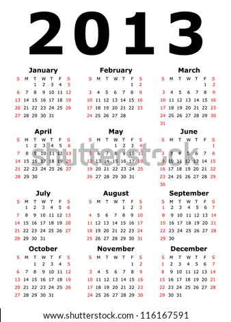 Calendar for 2013 - stock photo