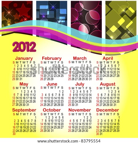 Calendar for 2012. Abstract background with boke. American style.