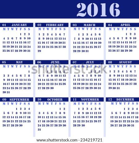 Calendar for 2016 blue design, strict business design - stock photo