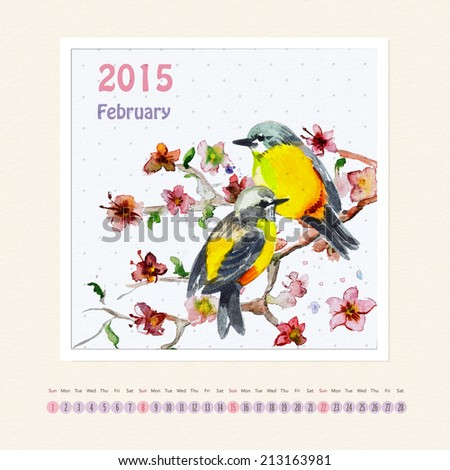 Calendar for february 2015 with bird, watercolor painting - stock photo