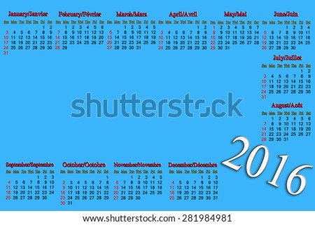 calendar for 2016 in English and French on lilac background with place for picture or advertising text - stock photo