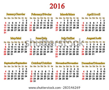 calendar for 2016 in English and French on white background  - stock photo