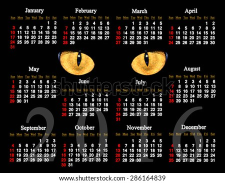 calendar for 2016 in English with cat's eyes in the darkness - stock photo