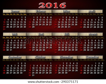 calendar for 2016 in German on claret background - stock photo