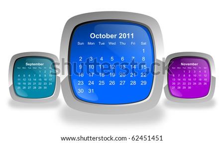 calendar for october 2011 - stock photo