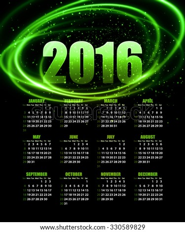 Calendar for 2016 on abstract background. illustration