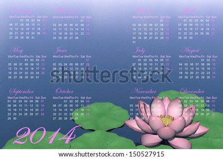 Calendar for 2014 with beautiful lotus flower and green leaves on water