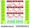 Calendar for 2012 with origami banners and Holiday icons calendars for june 2012. american style.  Raster version. - stock photo